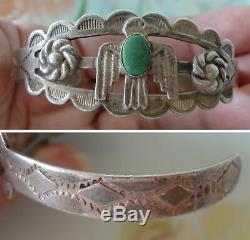 Fred Harvey Silver Arrow Products Ingot Coin Silver Turquoise Cuff 1940s Signed