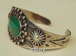Fred Harvey Sterling or Coin Silver Navajo Turquoise Cuff Bracelet Old Pawn