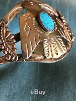 Fred Harvey Style Coin Silver Thunderbird Turquoise Cuff Bracelet Vintage 27 gms