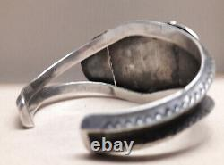 Fred Harvey Style Fox Turquoise Sterling Silver cuff bracelet 48 grams