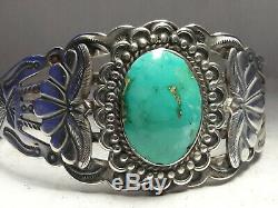 Fred Harvey Style Stone Mountain Turquoise Sterling Silver cuff bracelet 40 gram