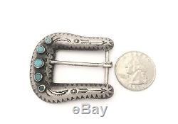 Fred Harvey Style Vintage Navajo Sterling Silver & Turquoise Belt Buckle