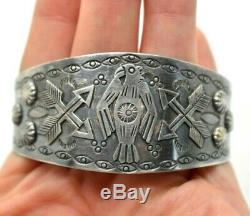 Fred Harvey Thunderbird Cuff Sterling Silver 925 Bracelet 33g 6.75 SAS797