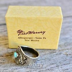 Fred Harvey Thunderbird Ring Size 9.5 Cigar Band Coin Silver Native American