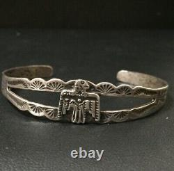 Fred Harvey Thunderbird Sterling Cuff Bracelet Signed Silver Arrow