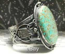 Fred Harvey Thunderbird Sterling Silver Turquoise cuff bracelet 70 grams