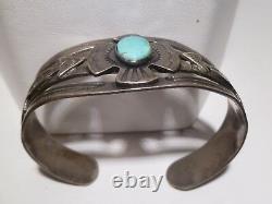 Fred Harvey Turquoise Bracelet Thunderbird Sun Arrow Old Pawn Navajo Sterling
