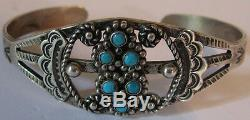 Fred Harvey Vintage Navajo Indian Sterling Silver Turquoise Cuff Bracelet