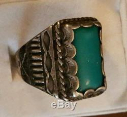 Fred Harvey Vintage Pawn Sterling Silver Turquoise Men's Ring