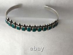 Fred Harvey Zuni Southwestern Sterling Silver Genuine Turquoise Cuff Bracelet