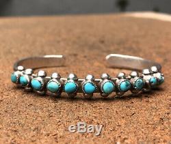 Fred Harvey Zuni Sterling Silver Turquoise Petit Point Snake Eyes Cuff Bracelet