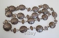 Fred Harvey early sterling silver petite stamped concho necklace or hat band 26