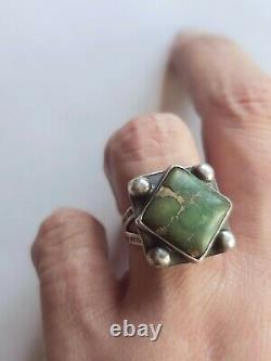 Fred Harvey era NAVAJO STERLING SILVER & TURQUOISE RING SZ 6