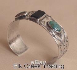Fred Harvey-era Navajo Silver Cuff Bracelet Turquoise Black jet stones, C, 1930s