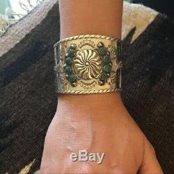 Fred Harvey style sterling silver cuff bracelet