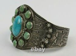 Fred Harvey turquoise sterling silver Navajo thunderbird bear cuff bracelet