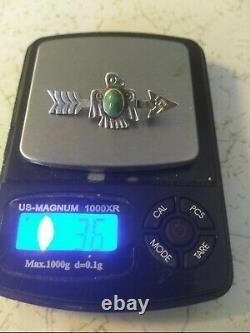 Fred harvey era sterling silver navajo turquoise thunderbird pin brooch (3.7g)