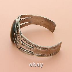 Fred harvey era sterling silver vintage navajo petrified wood cuff bracelet 6.5