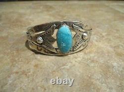 GENUINE OLD Fred Harvey Era Navajo Sterling Silver PREMIUM Turquoise Bracelet