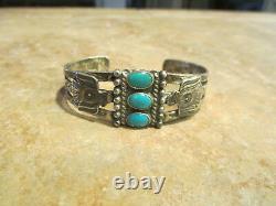 GREAT OLD Fred Harvey Era Navajo Sterling Silver Turquoise THUNDERBIRD Bracelet