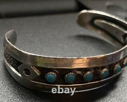 Gorgeous Fred Harvey Turquoise Petit Point Sterling Silver Bracelet Navajo Old