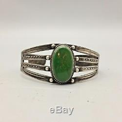 Great Old, Fred Harvey Era Green Turquoise and Sterling Silver Cuff Bracelet
