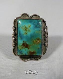 Green Turquoise Ring Fred Harvey Era Old Pawn NAVAJO Silver Southwest