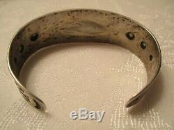 HAND STAMPED Fred Harvey Vintage OLD PAWN Coin Silver CUFF BRACELET