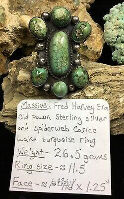 HUGE! 1930s Fred Harvey Era Sterling Silver & Carico Lake Turquoise Ring, 26.5g
