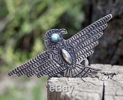 HUGE FRED HARVEY Era Sterling Silver Thunderbird Blue Turquoise Pin Navajo