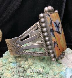 HUGE, Fred Harvey Era Sterling Silver & Petrified Wood SIGNED Bracelet, 63.2g