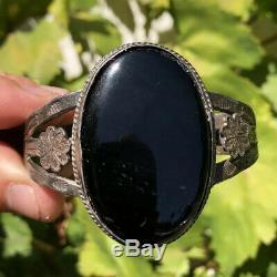 HUGE Old Fred Harvey Navajo Sterling Silver Black Onyx Stamped Cuff Bracelet
