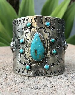 HUGE Vtg Fred Harvey Navajo Ingot Silver Stamped Royston Turquoise Cuff Bracelet