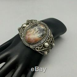 Hefty, Petrified Wood and Silver Bracelet Older Collectible Fred Harvey Era