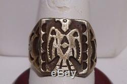 Hopi Thunder Bird Ring Old Pawn Fred Harvey Era Sterling Silver Vintage
