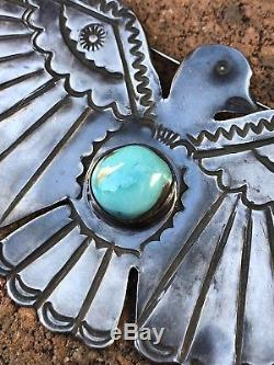 Huge 4.25 Fred Harvey Navajo Thunderbird Blue Gem Turquoise Sterling Silver Pin