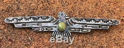 Huge Old Fred Harvey Navajo Thunderbird Royston Turquoise Sterling Silver Pin