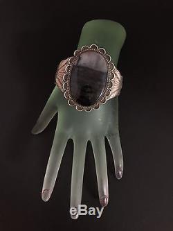 Huge Vintage Navajo Fred Harvey Sterling Silver & Petrified Wood Cuff Bracelet