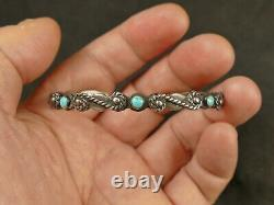 Ih Turquoise Coin Silver Row Bracelet 14.5 Gms Fred Harvey 1930's Tucson Estate
