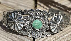 Impressive Deep Green Turquoise Coin Silver Navajo Bracelet Fred Harvey Era 26g