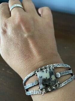 Incredible Navajo Petrified Wood sterling silver Bracelet Fred Harvey era 1950s