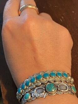 Incredible Navajo Royston Turquoise + Coin Silver Bracelet Fred Harvey Era