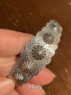 Intricate Vintage Navajo Coin Silver Bracelet MCM Fred Harvey Era Great Style