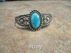 JOYFUL OLD Fred Harvey Era Navajo Sterling Silver Turquoise HEART Bracelet