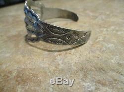 JUBILANT OLD Fred Harvey Era Navajo Silver Turquoise CONCHO Bracelet