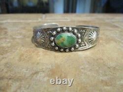 JUBILANT OLD Fred Harvey Era Navajo Sterling Silver ROYSTON Turquoise Bracelet