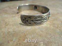 JUBILANT OLD Fred Harvey Era Navajo Sterling Silver Turquoise Design Bracelet