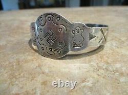 LARGE. REAL OLD Fred Harvey Era Navajo Coin Silver WHIRLING LOG Bracelet