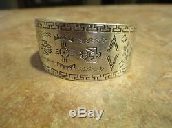 LIVELY OLD Fred Harvey Era Navajo Sterling Silver STAMPED DESIGN Bracelet