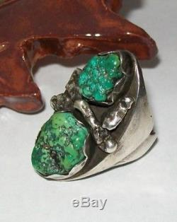 Large Old Pawn Fred Harvey Era Navajo Sterling Silver and Turquoise RING Size 10